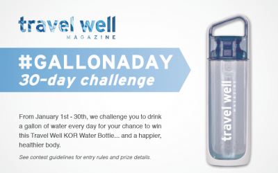 Win a KOR Water Bottle in Travel Well's #GallonADay 30-Day Challenge
