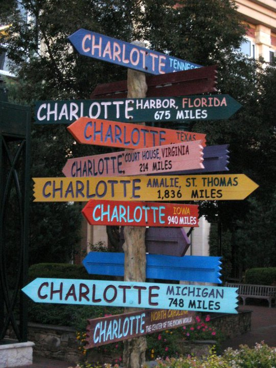 Charlotte Sign Post in The Green