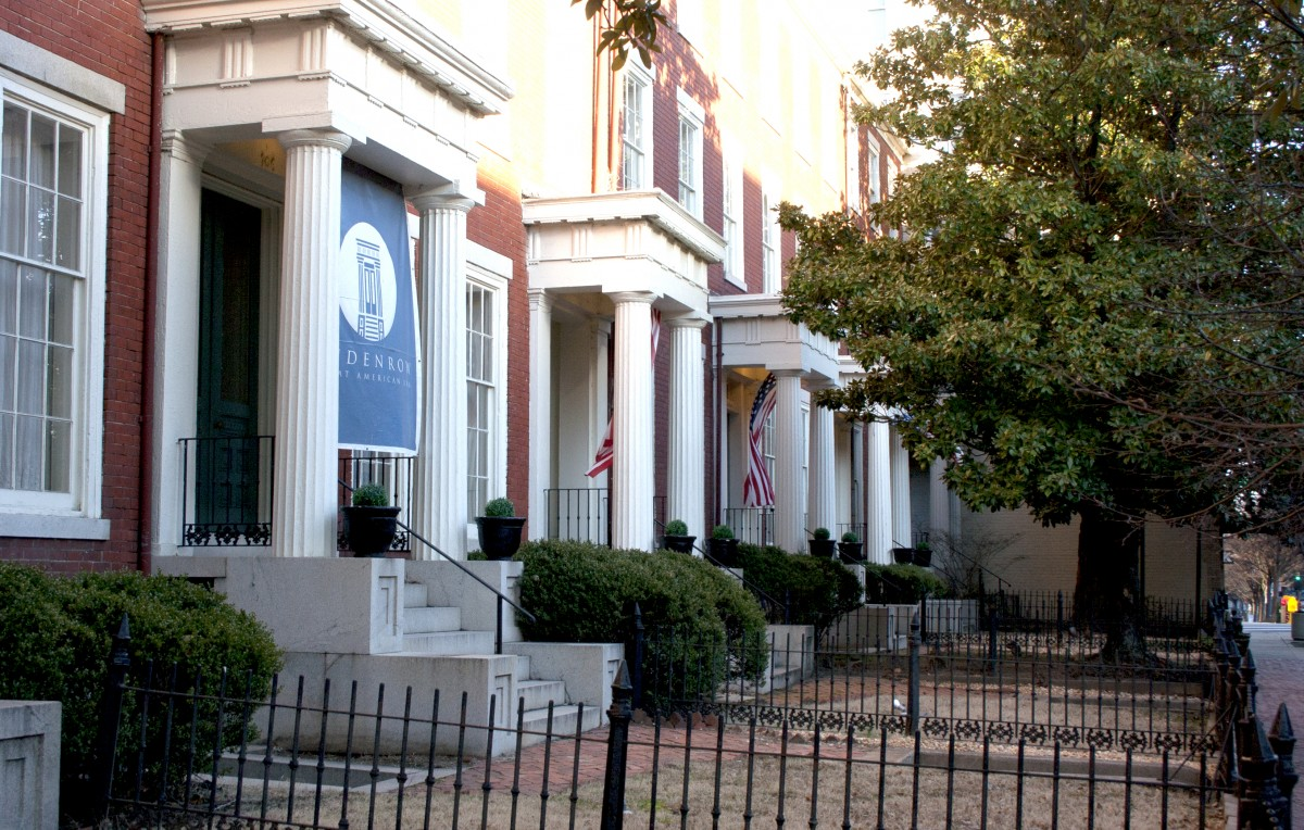 Front of the Linden Row Inn row homes displaying their iconic Greek Revival architecture