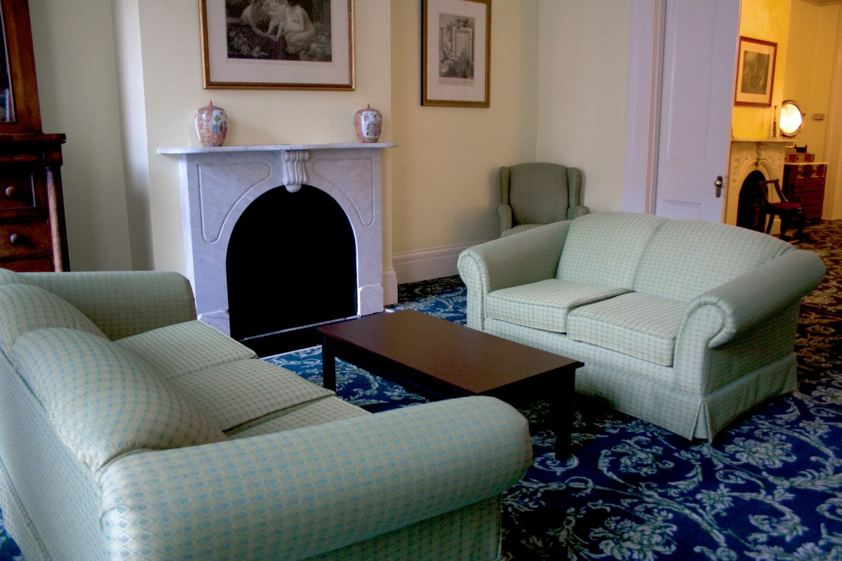 The living room of Mrs. Pegram's Parlor, Suite 220 at the Linden Row Inn
