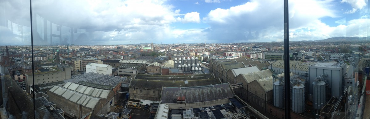 Panoramic view of Dublin from Guinness's Gravity Bar