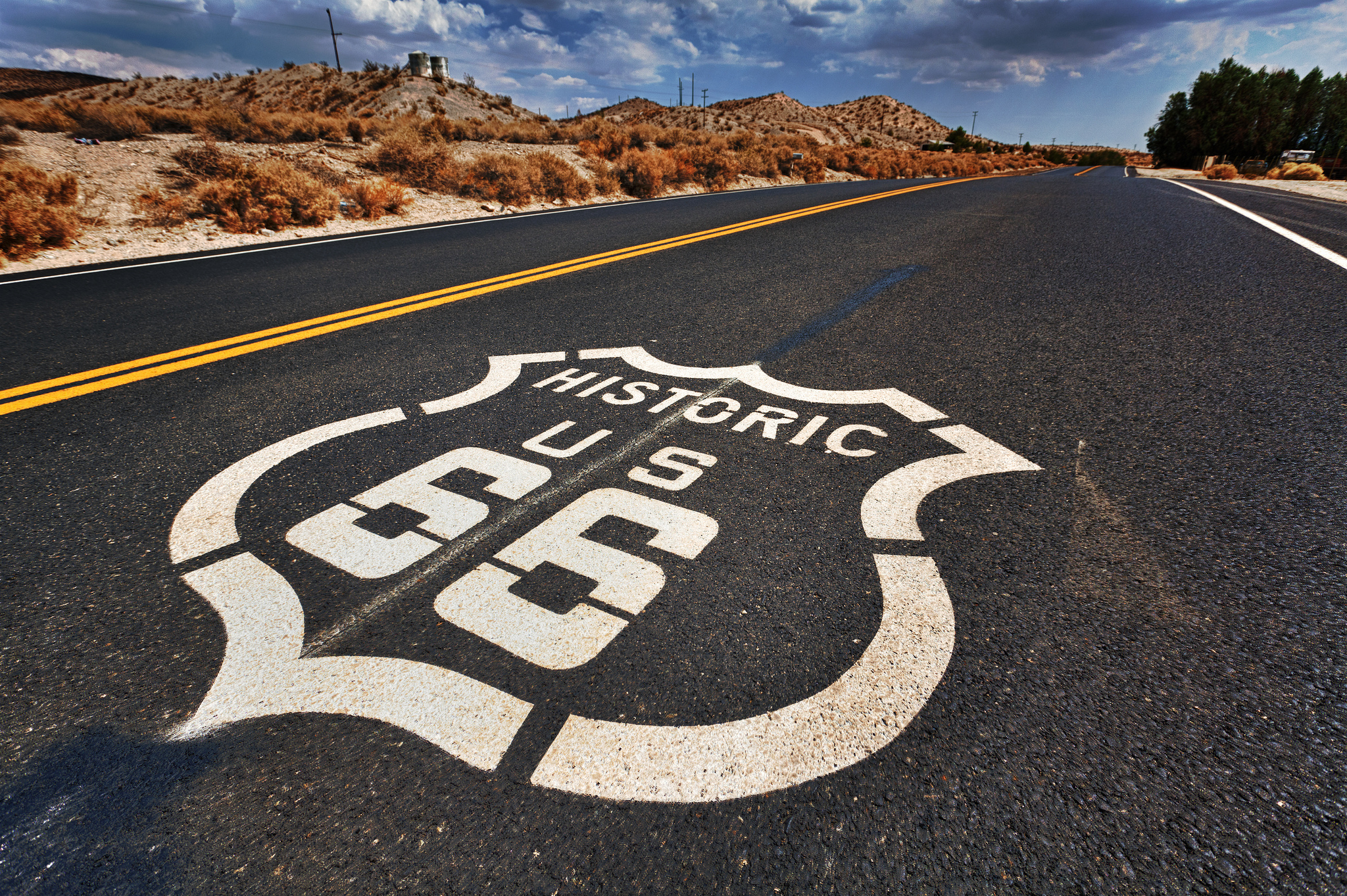 Historic Route 66 road paint