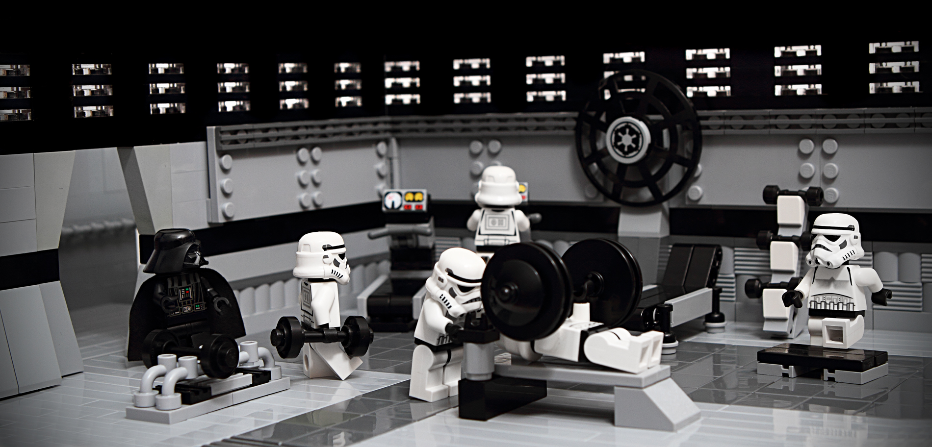 storm trooper legos working out at the gym